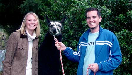 Wes and Sarah with Tina the Llama